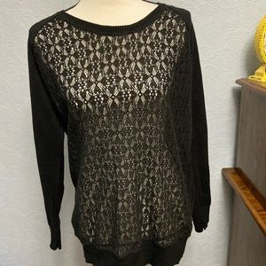 Mossimo Lace Front Top Solid Back Long Sleeve F1